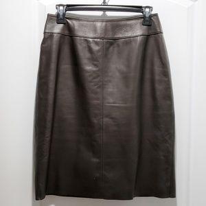Classiques Entier Cognac Leather Pencil Skirt Sz 8